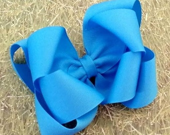 Turquoise Hair Bow..Turquoise Bow...Aqua Bow...Double boutique bow...boutique hair bow..hair bow...back to school bow