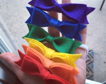 a rainbow of bows felt bow set