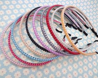 Mixed colors--10PCS 4mm  pearl with 5mm metal headband