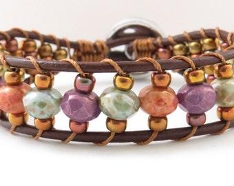 Brown Leather Wrap Bracelet Bohemia Style Cuff Bracelet Hippie Fashion Accessory