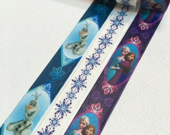 3 Rolls of Japanese Disney Limited Edition Washi Tape: Frozen, Else, Anna, Snowman and Snowflake