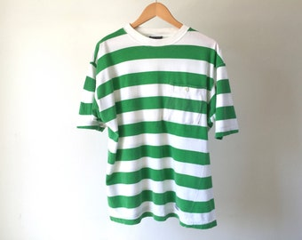 90s vintage striped NAUTICAL boating green & white STRIPES short sleeve shirt