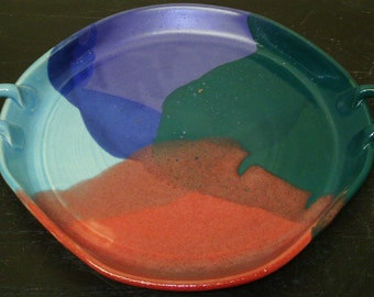 Altered Handled Platter in my new Purple,Teal,Blue and Red combination glaze...
