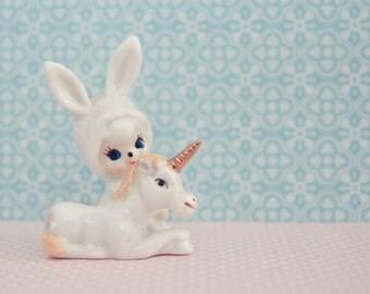 Bunny girl & unicorn print