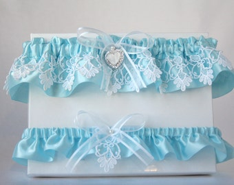 Blue satin and white  lace garter set/Rhinestones garter/Lace & satin garter set/Bride garter set/Something blue/Prom garter/Keepsake garter
