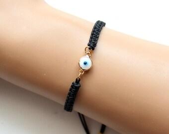 Evil eye, black string bracelet, adjustable bracelet, white turquoise, macrame bracelet, turkish jewelry, best friend birthday gift
