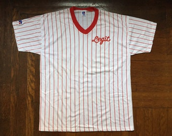 legit vintage X russell athletic pinstripe V-neck shirt mens size XL deadstock NWOT 90s made in USA