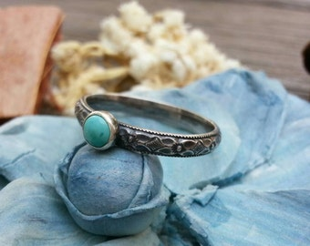 Turquoise stacking Ring. Turquoise patterned band ring. Sterling Silver Ring. Stacking Ring. Stone Ring. Gemstone stacking Ring. Floral ring