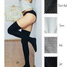 Thigh high stocking socks black gray white Cotton