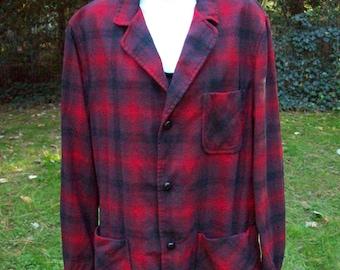 Vintage Pendleton Men's Plaid Wool Topster Jacket Red Black circa 1950s to 60s size Med