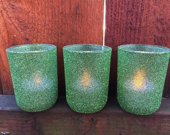 Votive holders in Mint-er glitter
