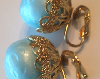 Vintage Robins Egg Blue Earrings ~ Clip On ~ Gold Filigree Cap ~ Mid Century ~ NICE