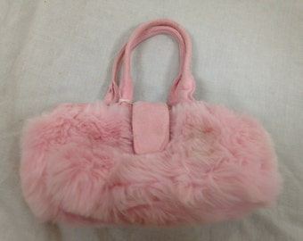 pink fuzzy furry purse