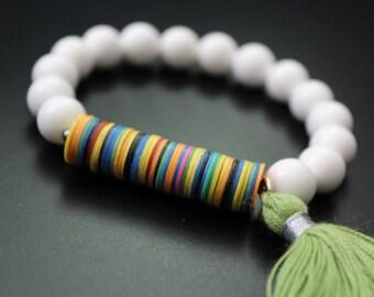 Colorful African vulcanite and white shell bracelet tassel bracelet stretch stacking summer boho bracelet African bead urban safari bracelet