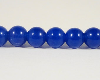 """Blue Jade Beads 6mm Round Navy Blue Candy Jade Gemstone Beads, Ball Beads, Dyed Mountain Jade Stone Beads on a 7 1/2"""" Strand with 32 Beads"""