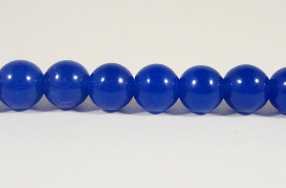 "Blue Jade Beads 6mm Round Navy Blue Candy Jade Gemstone Beads, Ball Beads, Dyed Mountain Jade Stone Beads on a 7 1/2"" Strand with 32 Beads"
