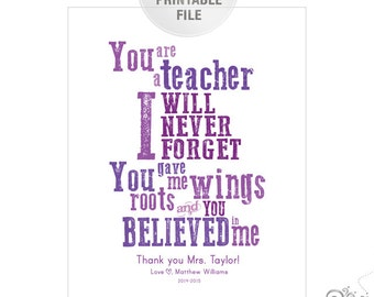 5x7 or 8x10 Personalized Teacher Appreciation PRINTABLE / End of Year Teacher Gift Ideas / Thank You / Purple / Digital File
