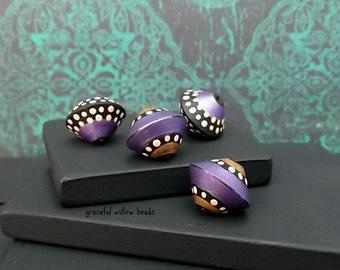 Handmade Polymer Bicone Set - Moroccan Style Purple Black Bronze Mocha Polka Dot Bead Set - 13mm - Pkg. 4