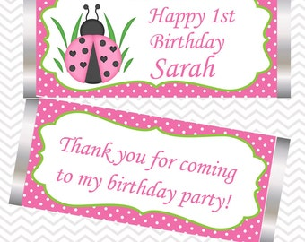 LadyBug Pink and Green - Personalized Candy Bar Wrapper