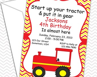 Tractor Red Invitations PRINTABLE - Birthday Party - Baby Shower