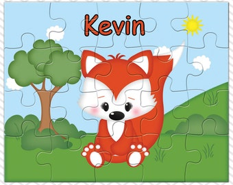 Fox Personalized Puzzle, Personalized Fox Puzzle, Personalized Kids Puzzle