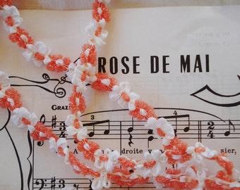 1y Vintage French Orange Cello & White Satin Flowers Rococo Rosette Cellophane Flower Ribbon Hat Doll Crazy Quilt Applique Trim France