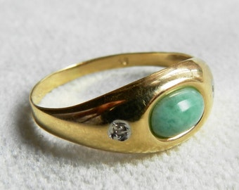 Jade Ring 14K Genuine Jade Ring 14K Diamond Accent Yellow Gold Vintage Art Deco Jade Ring