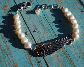 Wing and Pearl Bracelet, Shabby Chic, Angel's Wing