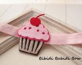 Girl's headband- Cupcake headband -Felt headband- Hair accessories- Cupcake hair clip - Baby girl headband- Toddler headband- birthday gift