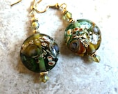 Green Floral Lamp Work  Earrings