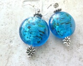 Earrings of Blue Translucent Beads & Silver Flowers
