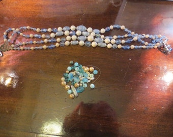 Vintage Jewelry Findings, 1950s, Beads, Necklace, Blue, Craft