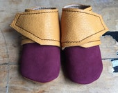 Leather wrap around baby booties