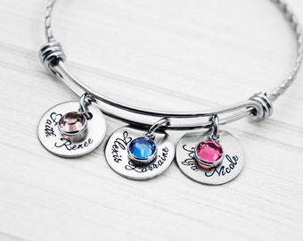 Children's First and Middle Names and Birth Stones - Hand Stamped Mommy Bangle Bracelet - Personalized Mom Jewelry - Kids Birthstones