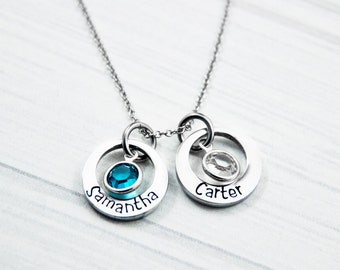 Kid's Name and Birthstone Washer Necklace - Hand Stamped Mommy Jewelry - Stainless Steel -  Personalized Mom, Grandma, Abuelita Gift