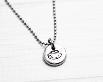 Coffee Cup Necklace - Hand Stamped Dainty Pewter Necklace - Hand Stamped Jewelry - Barista Jewelry - Gift for Daughter, Sister