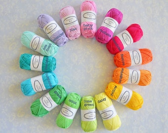 15 balls Cotton Yarn Rainbow Colours, Granny Kit Yarn Ready to ship by CrochetObjet