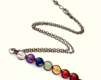 Chakra necklace, chakra pendant, crystal necklace, chakra jewelry, handmade necklaces, rainbow necklaces, pride jewelry, seven chakras