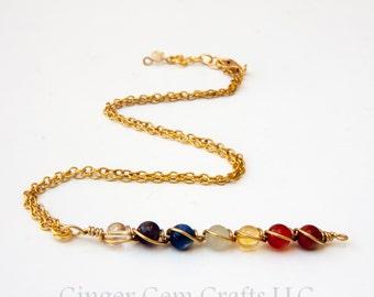 Chakra necklace, chakra pendant, crystal necklaces, handmade necklaces, chakra jewelry, chakra stones, rainbow necklaces, seven chakras