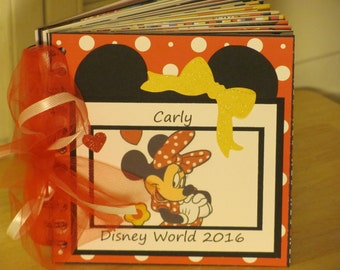Disney Autograph Book  MINNIE  or Mickey MOUSE  Scrapbook Boy or Girl Keepsake in Colors of  Red, Yellow and Black