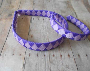 Purple and Lavender Polka dot Matching woven headband for American Girl Doll and girl Dolly and Me headband set