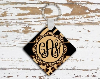 Animal print keychain with monogram, Key chain with Tiger print, Personalized car accessory, Inexpensive gifts for girls, Under 10 (1282)