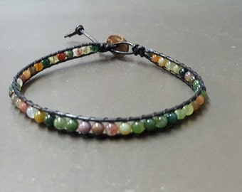 Jasper Bean Black  Leather Anklet