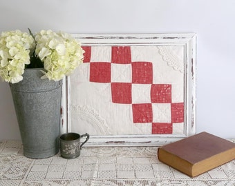 Red and White Framed Quilt Piece, Red and White Cutter Quilt, Country Home Decor, Farmhouse Decor, Quilt Wall Decor