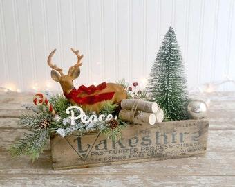 Vintage Style Christmas Decoration, Farmhouse Christmas Decor, Folk Art Christmas, Flocked Deer, Bottle Brush Tree, Vintage Cheese Box