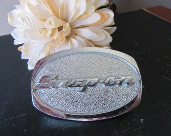 Vintage Snap-On Tools Chrome on Solid Brass Belt Buckle SPP-509  Snap On Tools Belt Buckle Silver