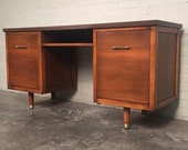 "Mid-Century Modern Walnut Desk/ Credenza 19"" X 59"" Top ~ Great Mad Men / Eames Era Decor *SHIPPING NOT INCLUDED*"