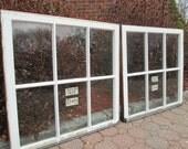 2- 32 x 31 Large same size Vintage Window sash old 6 pane from 1925 Arts & Crafts