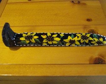 Sun Flowers RAILROAD SPIKE Original Decor Paperweight