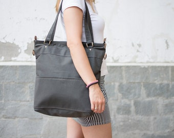 Tote cotton canvas shoulder bag in gray - laptop tote bag - shoulder bag -  cross body messenger bag - tote canvas  purse - LARYS